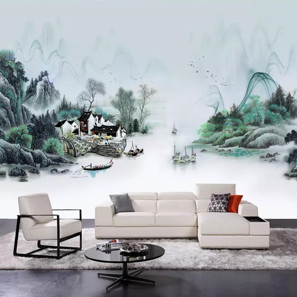 Aakadi 3d Modern Minimalist New Chinese Fishing Village Ink Landscape Painting Wall Custom Large Seamless Wallpaper Mural Images Of Wallpapers Images