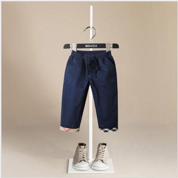 2019 Nueva Primavera Otoño Niños Pantalones casuales Niños Algodón Pantalones de ocio con bolsillos Niños Plaid Pantalones largos 1-6 años 5pcs / lot