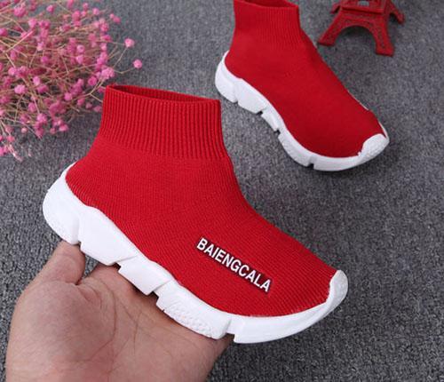 Boa Qualidade Vermelho preto Trainer de Velocidade Sapato Casual Boy Girls Meias Botas Stretch-Knit Casual Botas Corrida Corredor Barato Tênis de Alta Top size26-36