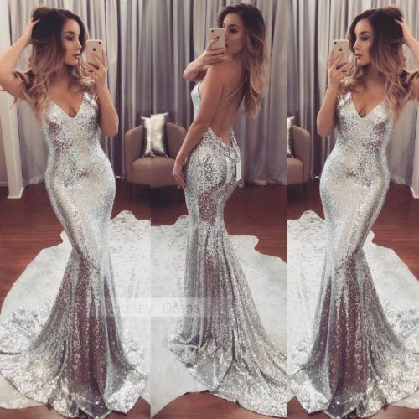 2019 nova moda formal longo vestido mulheres lantejoulas vestido de prata vestido de baile festa de baile dama de honra com decote em v traje