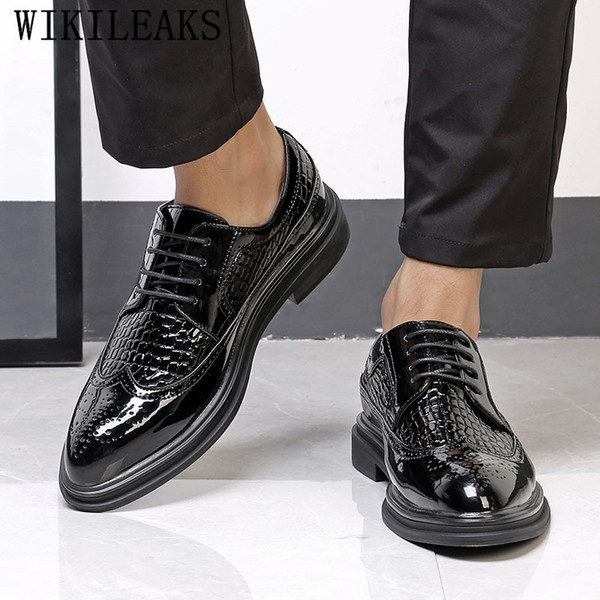 italien hommes chaussures chaussures oxford pour hommes zapatos hombre mens dress cuir verni mariage formel sapato masculin