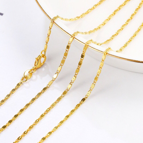 (265N) 16/18/20/22/24/26/28/30 inches Small Long Chains Necklaces (1.5 mm) For MEN WOMEN 18k Yellow Gold Plated Hot Buy Lead and Nickel Free
