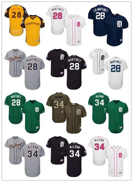 "2019 Detroit #28 J. D. Martinez 34 James McCann ""McCannon"" men#WOMEN#YOUTH#Men's Baseball Jersey Majestic stitched professional Tigers"