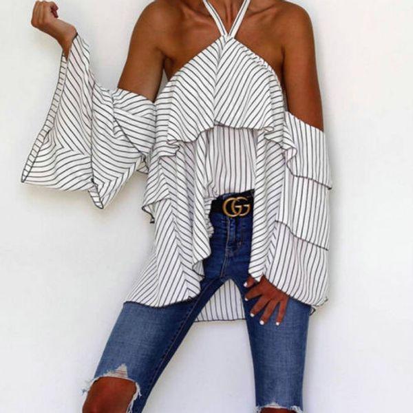 Mujeres Moda Casual Hombro riza la blusa de manga larga bodycon fotografica remata la camisa atractiva de la ropa