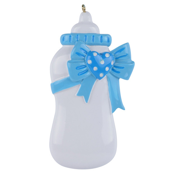 Baby Bottle Blue Pink Baby First Personalized Hand Painted Diy Polyresin Craft Souvenirs For Holiday Gifts Home Decor