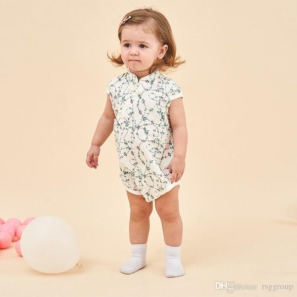 INS New High-end Cotton Toddler Baby Girls Rompers Mandarin Collar Green Pink Trees Leaf Printing Jumpsuit Newborn Onesies for 3-18M