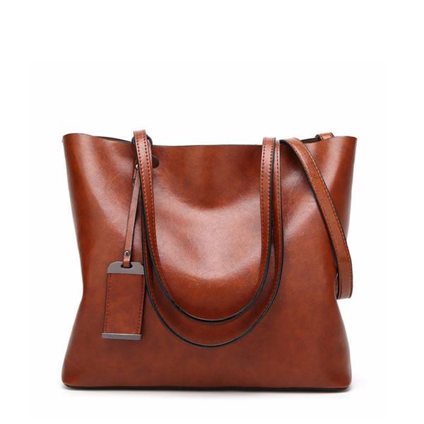 2019 Ретро Пу Большой Емкости женские коричневые женские сумки Сумка Повседневная Сумка через плечо Сумки дизайнерские сумки дизайнерские сумки винтаж