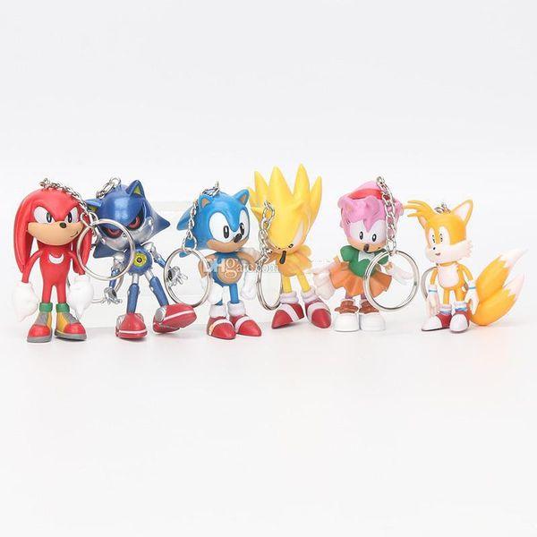 6 cm Sonic les figurines de hérisson jouet PVC jouet Sonic caractères caractères jouets jouets poupée 6pcs / set porte-clés pendentif cadeau