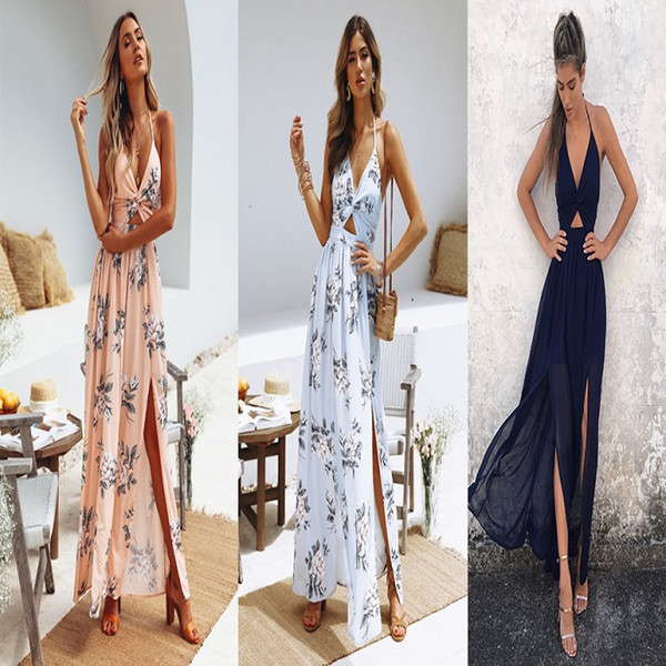 Hot Style Sexy Dresses for Women Floral Printed Womens Halter Top V-neck Long Chiffon Dress Split Beach Style Dress with Bow
