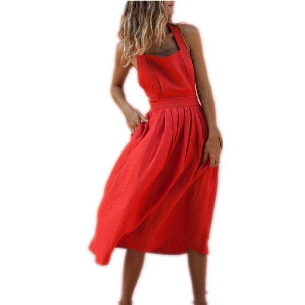 Лето Женщины Boho Без Рукавов Длинное Красное Платье Тонкий Вечеринка Пляжный Сарафан Горячий Размер S-XL