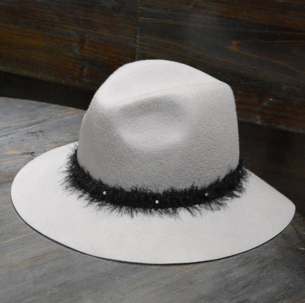 Unisex Felt Fedora Hat Jazz Felt Floppy Ribbon Wide Brim Panama Hat Classic Elegant Hombre Cap
