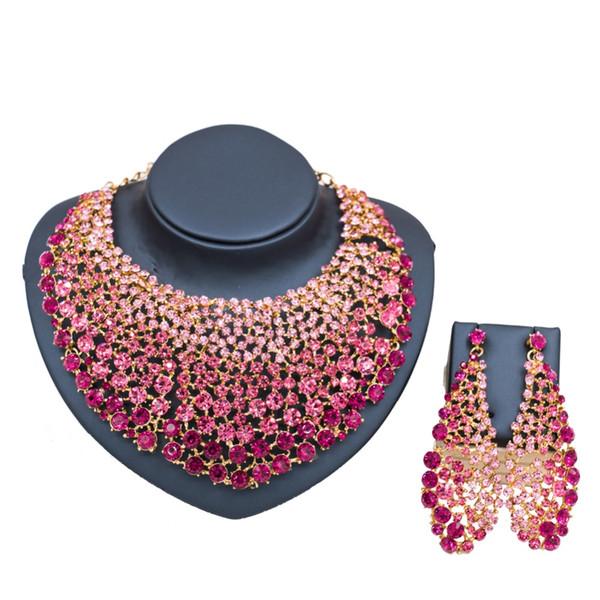 en gros cristal autrichien afrique ensemble de bijoux collier et boucles d'oreilles pour la fête or ensemble inde bijoux livraison gratuite