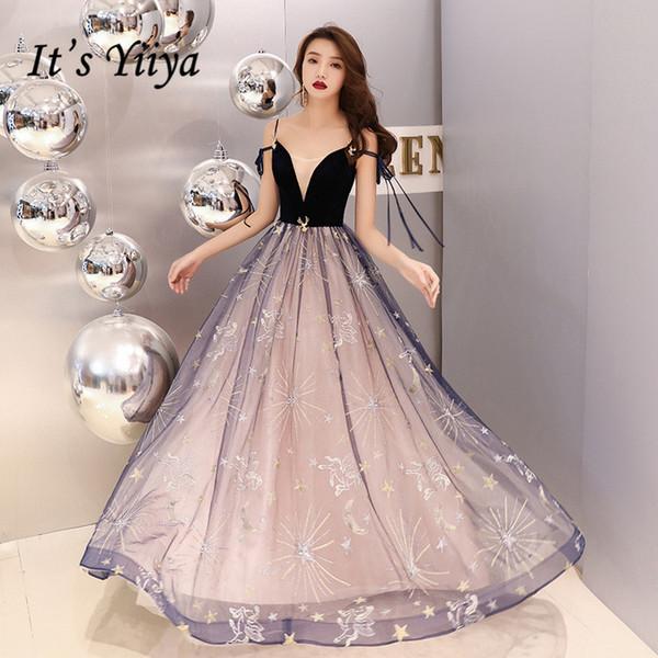 It's YiiYa Evening Dress Stars Pattern Emborider Fashion Formal Dresses Boat Neck Spaghetti Strap Sexy Party Gown