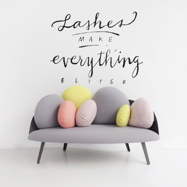 Lashes MAKE everything BETTER Vinyl Wall Decal Quote Beauty Salon Wall Decor Eyelash Make Up Wall Stickers Girls Bedroom