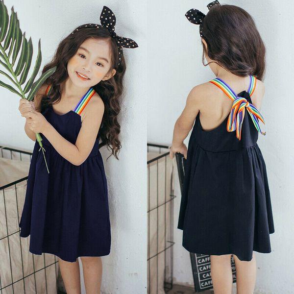 Summer Kid Baby Girl Dress Color puro sin mangas Slip Party Vestidos de princesa Nuevo