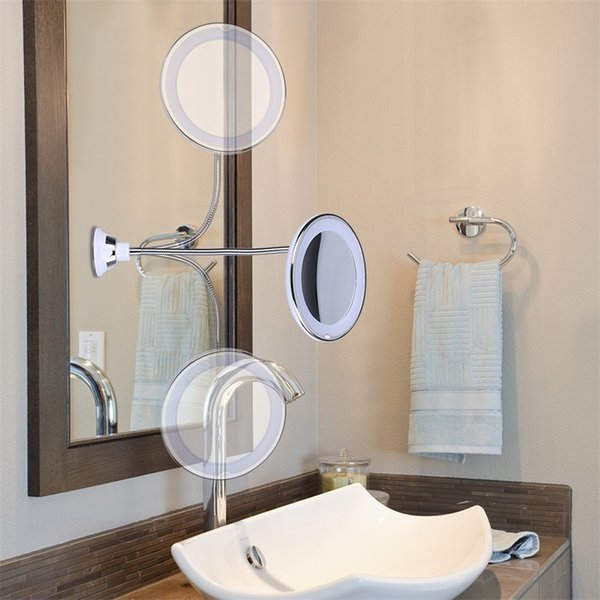 Miroir de maquillage éclairé par LED avec ventouse 360 degrés 10X loupe montage mural miroir vanité mode pour salle de bains chambre vente chaude