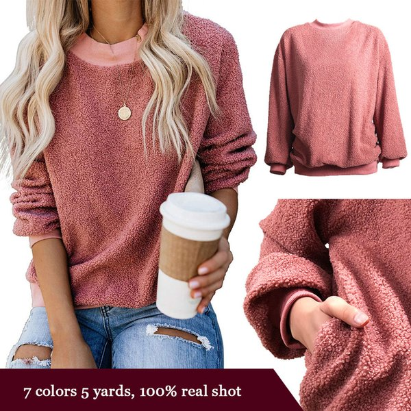 solid color lamb granule pullover ladies fashion long-sleeved shirt and casual heart-shaped kawaii pullover clothing