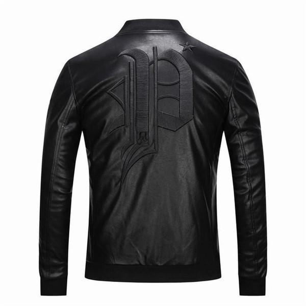 2018 nuevo de alta calidad de cuero chaqueta de los hombres de los hombres # 8639