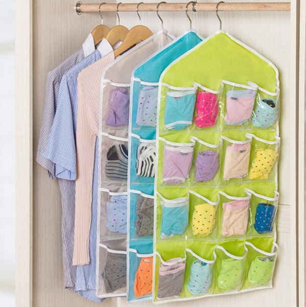 4 Colors 16 Pockets Clear Over Door Hanging Bag Shoe Rack Hanger Storage Tidy Organizer Fashion Home LX6414