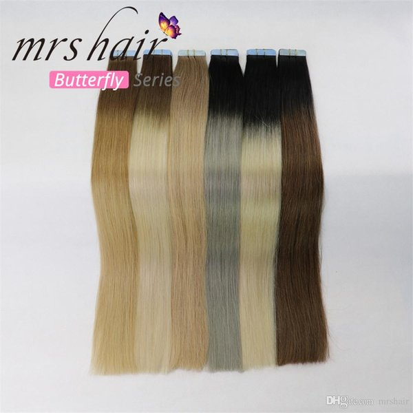 MRSHAIR Remy Tape In Extensions Ombre Hair Balayage Human Hair Straight  Ombre Skin Weft Hair Extensions Remy Hair Extensions Wholesale Weaving Hair