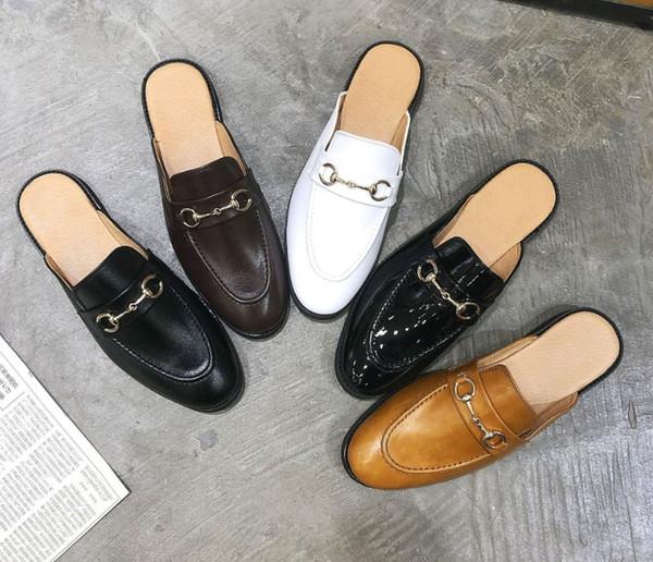 Baotou zapatillas para hombres y mujeres 2019 piel de vacuno suave playa al aire libre Zapatillas perezosas Diseñador Zapatillas de gran tamaño 35-48