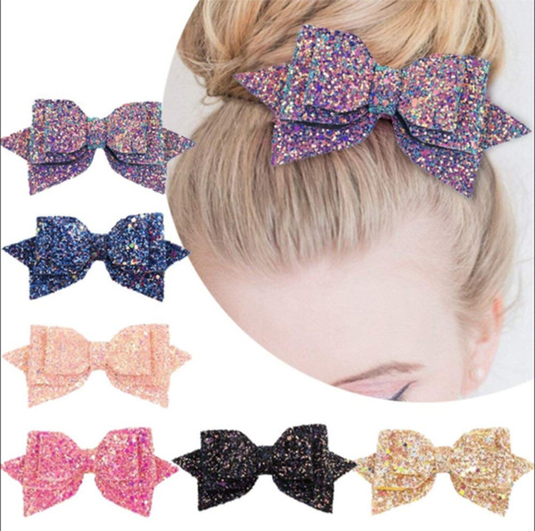 1Piece 5 Inch Baby Girl Big Glitter Bow Kids Hairpins Hair Clip For Children Hair Accessories Retal Hair Clip Women Elegant