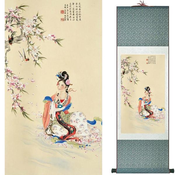 Pretty Girl Painting Chinese Art Painting Decoración de la oficina en el hogar Chinese Painting Art Figure 2019081609