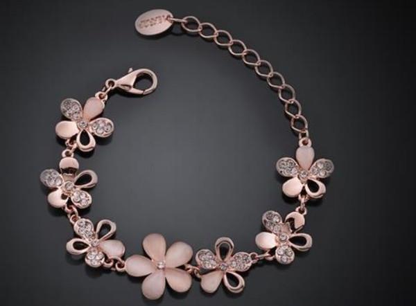 Yeni 10 adet / grup Gül Altın Çiçek Bilezik kadınlar için Çek matkap bilezik Narin Çiçek Bracele