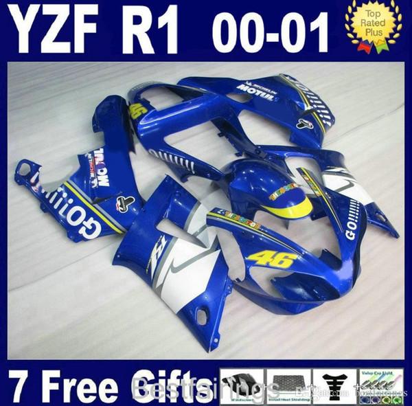ZXMOTOR Free custom fairing kit for YAMAHA R1 2000 2001 white blue fairings YZF R1 00 01 FR58