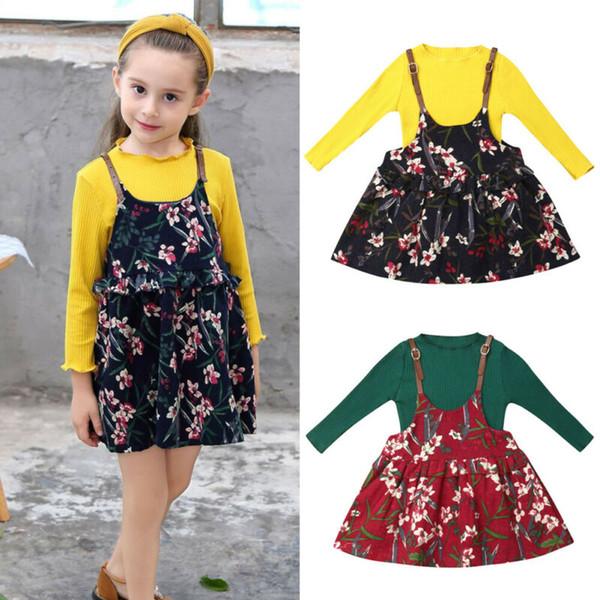 Осень 2PCS малышей Детская одежда Baby Girl Комплекты трикотажные с длинным рукавом + цветок ремешок платье Outfit Set
