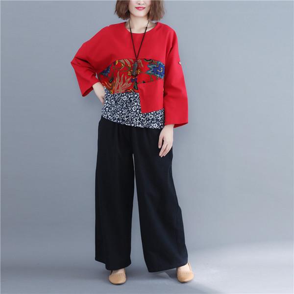 2019 Bahar Kadın T-shirt Pamuk Keten Kadın Artı Boyutu Uzun Kollu O-Boyun Tops Vintage Gevşek Patchwork Baskılı Temel Tshirt