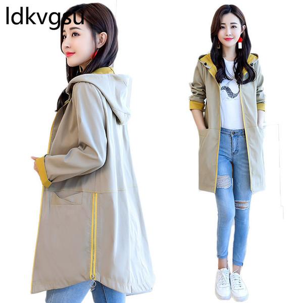 Hooded Long Windbreaker Jacket Female 2019 Spring New Korean Large Size Thin Spring Coat Long Sleeve Casual Coat Hoodie f051