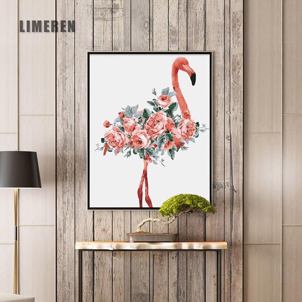 Acheter Peinture à L Huile Par Numéros Fleur Peinture Acrylique Mur Peinture Flamingo Image Coloriage Par Numéros Sur Toile Décor à La Maison De