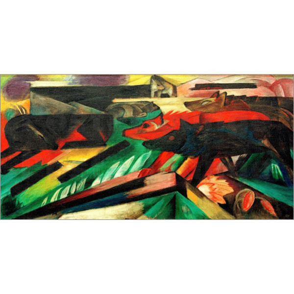 Hand painted abstract oil paintings Franz Marc The Wolves Balkan War canvas artwork for home decor