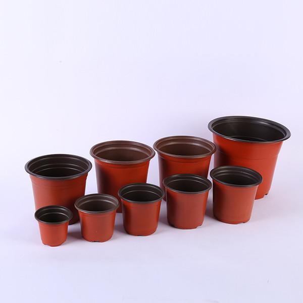 best selling Double Color Flower Pots Plastic Red Black Nursery Transplant Basin Unbreakable Flowerpot Home Planters Garden Supplies lin4728