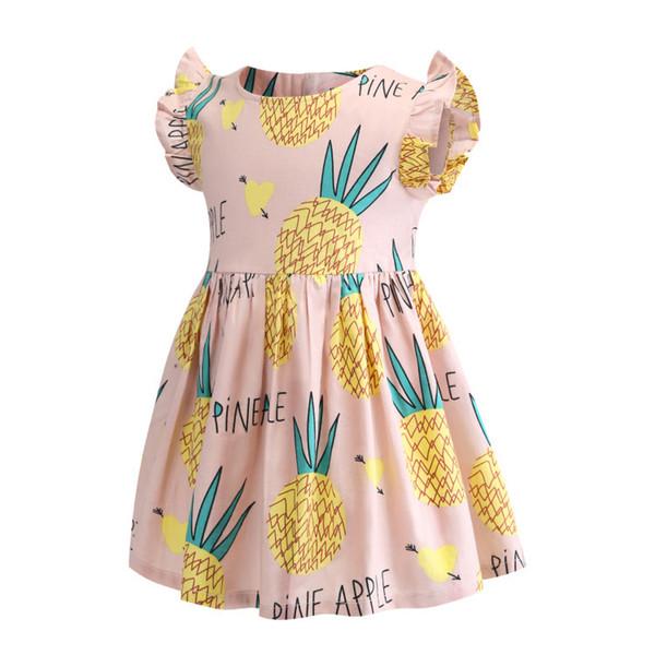 retail girls dress baby girl fruit and letter print skirt flutter sleeve cotton dresses kids casual dress children boutique designer clothes