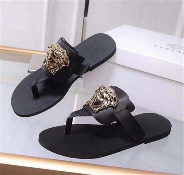 2019 senhoras sandálias de cunha designers flip flops design slides chinelos de mulher Sandálias gladiador de alta qualidade mulher De Couro com a caixa