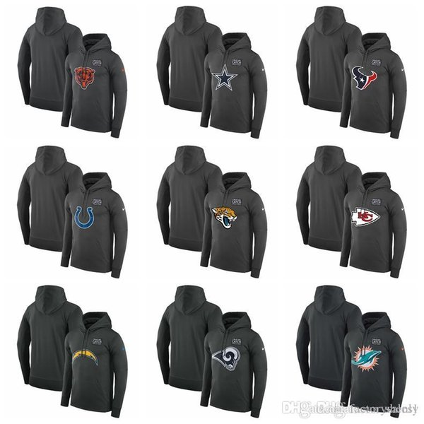 Cotton Hot sale MEN Texans Colts Jaguars Chiefs Chargers Rams Dolphins Crucial Catch Performance Hoodie Anthracite