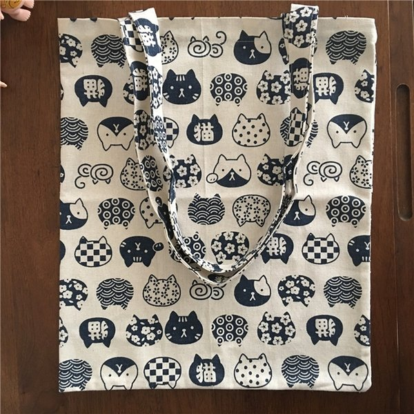 YILE Cotton Linen Eco Shopping Tote bandolera Imprimir Blue Cat Head 605-1 # 90032