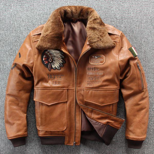 2019 Nouveau Hommes Broderie vol Skull A1 Pilot Veste en peau de mouton Casual col laine veste en cuir véritable S-XXXL