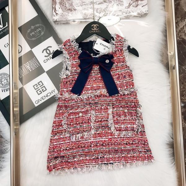 Les vêtements de marque pour enfants tombent sur de nouvelles robes pour filles en tissu tissé