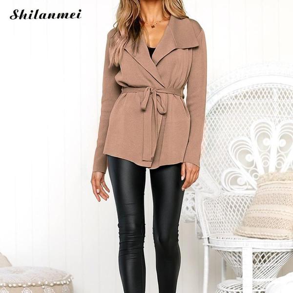 Fashion Lace Up Long Sleeve Sweaters Women Cardigans Causal Belt Outwear Female Elegant Casaco Feminino Streetwear Sweater Coats