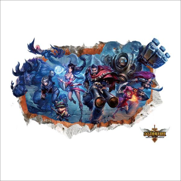 Adesivi murali Decorazioni murali per la casa League of Legends for Kids Room Decorazioni per la camera da letto Cartone animato fai da te Poster Murale Carta da parati Adesivi murali