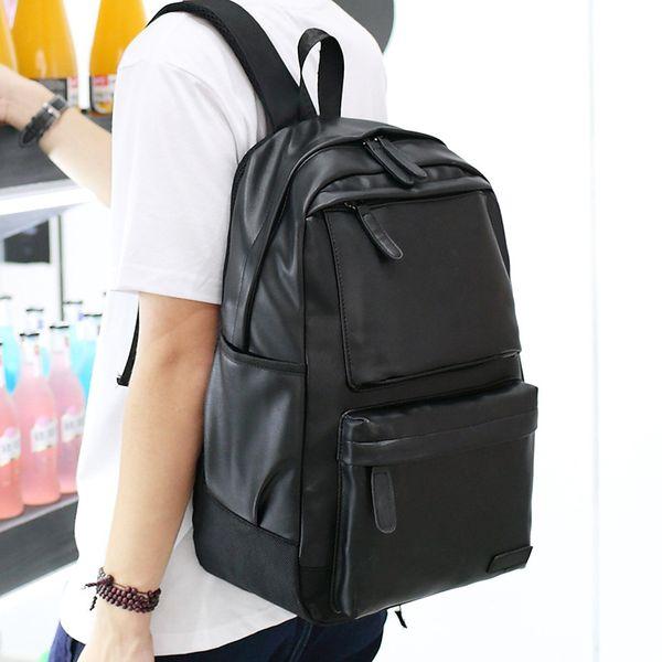 New Men Backpack PU Leather Waterproof Backpack Fashion Travel Bag Casual School Bag For Teenagers Laptop Backpack Mochila Brown