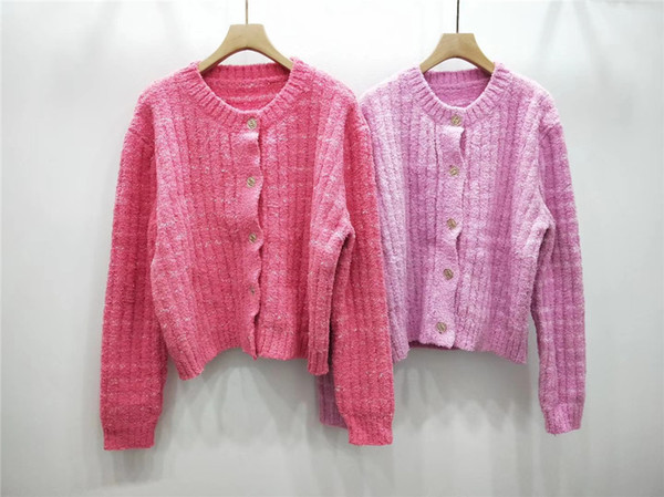 Spot supply 2019 Spring and Autumn Sigma with age reduction small fragrance pink knit spelling short cardigan loose coat head female