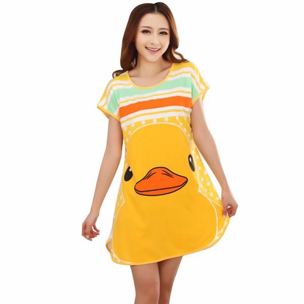 Nova Moda Mulheres Bonitos Dos Desenhos Animados Casual Nightwear Sleepwear Vestido de Manga Curta Sono Vestidos Venda Quente Camisola Y12