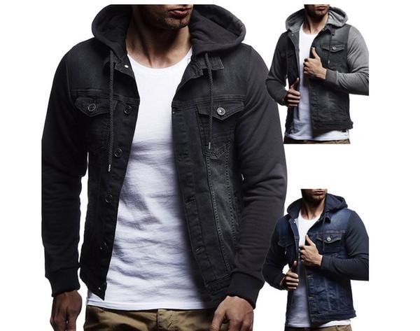 Бесплатные горячие Brand New 2019 Мужские Джинсовые Куртки Мужчины С Капюшоном Осень Джинсовое Пальто Для Мужчин Высокого Качества Моды Классический Твердые Одежда