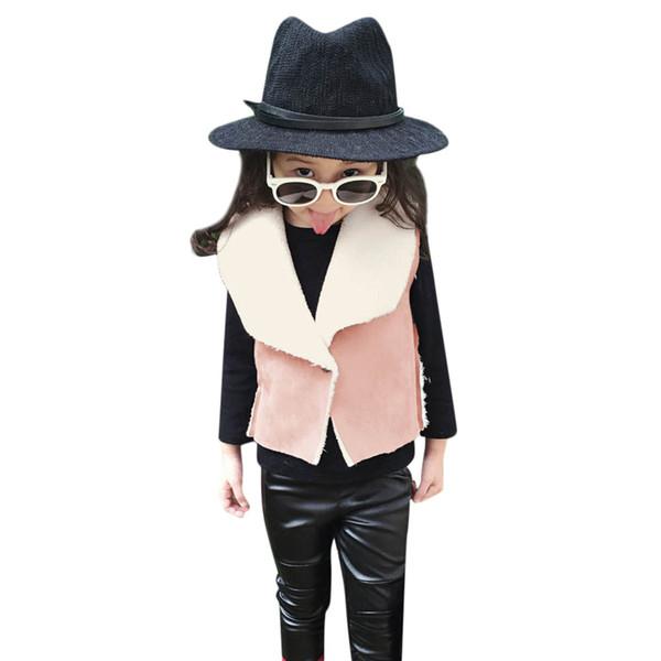 Caldo ragazze giacche di cotone Vest AutumnWinter bambini per ragazze ragazza dei capretti abbigliamento invernale Ecopelle Outwear Gilet cappotto