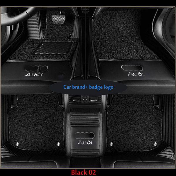 Auto-Fußmatten für Audi Q3 Q5 A7 A3 A4 A6LA7 A6LA7 A5LA7 S5 S6 S7 S8 R8 RS5 RS6 RS7 TT TTS PU-Leder Abzeichen-Logo