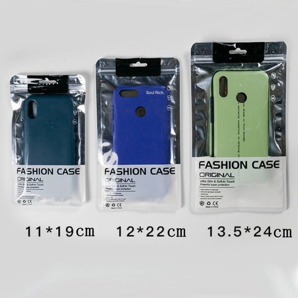 13.5X24 11X19 12X22 cm zipper Bag Cell Phone Accessories Mobile Phone Cover case Packaging Package Bag for iPhone X